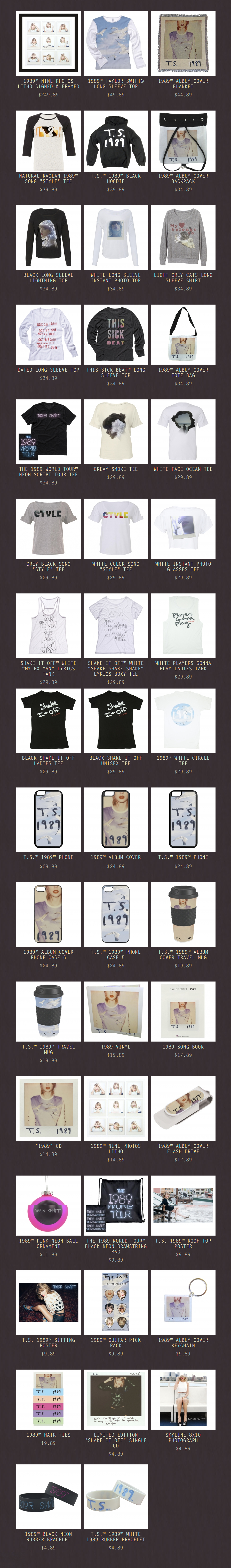 1989 Merch  Taylor Swift Official Online Store
